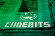Codebits projected on a wall