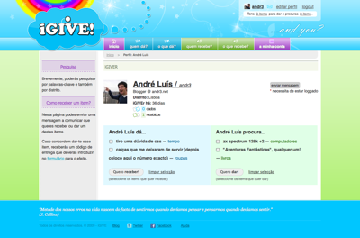 my profile at iGIVE
