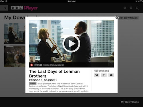 A screenshot of BBC iPlayer, showing the single episode of The Last Days of Lehman Brothers tv show